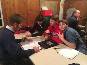 Life scouts Blake, Will & Eric working on their Eagle requirements.